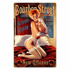 VINTAGE STYLE METAL SIGN Pinup Girl  Bourbon Street  12 x 18