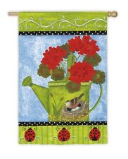 Watering Can with Flowers Geranium Bird & Red  Ladybug Summer Garden Sm Flag
