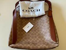 NEW Coach 79249 Hadley Hobo In Signature Canvas Shoulder Bag Purse TAN RUST $395