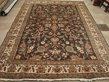 Exclusive Light Brown Rectangle Area Rug Hand Knotted Wool Silk Carpet (10 x 7)'