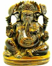 Natural Tiger's eye Gemstone figurine Carved Lord Ganesha statue Hindu Deity God