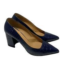 DRIES VAN NOTEN MOC-CROC BLUE PUMPS, 37.5, $895