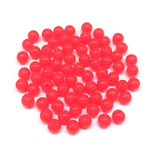 One hundred (100) 5mm round glow-in-the-dark red fishing rig beads