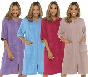 Undercover Towelling Dressing Gown 100% Cotton Zip Up Terry Toweling Bathrobe