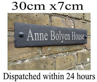 Rustic Slate House Gate Sign Plaque Door Number Personalised Name Plate oval