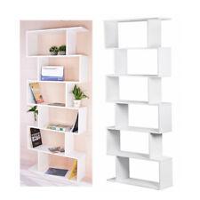 6 Tier S Shape Bookshelf Bookcase Display Storage Unit Shelves Office Home Decor