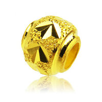 1PCS Real 24k Yellow Gold Luck Carved Loose DIY Bead Pendant Size: 3.1x3.3mm