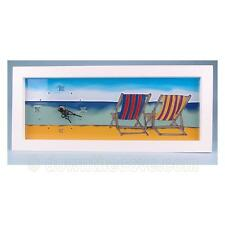 Seaside Scenes Deck Chair Clock - Painted Glass - Great Gift - 1st Class Post!