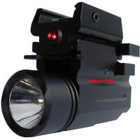 For GLOCK 17 19 20 23 22 21 FLASHLIGHT Led + Red Laser Fits Weaver and Picatinny