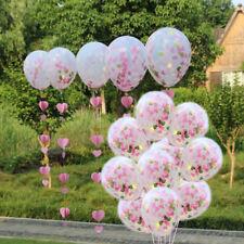 "10PCS 12"" Pink Gold Heart Confetti Latex Balloon Wedding Birthday Hen Party"
