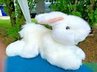 "Vintage Goffa Beautiful White Laying Bunny Rabbit 12"" Plush Stuffed Animal Toy"