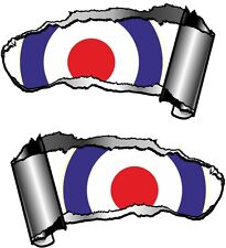 Small Pair Ripped Open Metal Rip GASH RAF Roundel MOD Mods Target Car Sticker