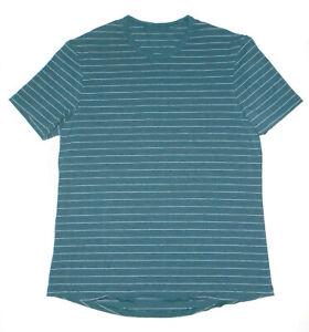LULULEMON Metal Vent Tech T-Shirt DARK Blue/Green Striped Crewneck Mens : LG