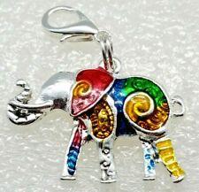Elephant Multicolor Enamel Silver Alloy Zipper Pull Purse Charm Dangle Jewelry