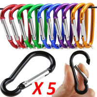 5PC Useful D-Ring Aluminum Carabiner Keyring Chain Snap Hook Camping Keychain