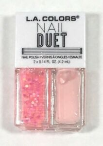 L.A. Colors Nail Duet Polish & Glitter Pink Glitter & Blush Pink Polish