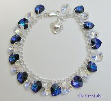 Heart Charm Bracelet made with Swarovski Heliotrope & Solid 925 Sterling Silver