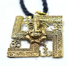 Ganesha swastika pendant om brass spiritual Thai Hinduism necklace 3 pcs.per lot