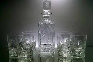 Whisky-Set 6 Whiskygläser + Karaffe Kristallglas Bleikristall
