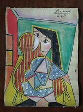 PABLO PICASSO      DRAWING WATERCOLOR ON ORIGINAL WALLPAPER OF THE 20s