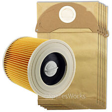 Karcher Wet and Dry Vacuum Filter Cartridge + 5 Hoover Bags WD2250 WD2.250