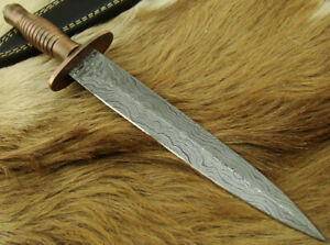 HANDMADE DAMASCUS STEEL BRITISH COMMANDO TACTICAL HUNTING DAGGER KNIFE (4567-5