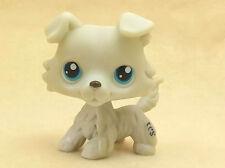 Littlest Pet Shop Toy Collie Dog Blue Eyes Light Grey Animals LPS #28
