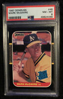 1987 Donruss Mark McGwire Rated Rookie Card RC #46 Athletics PSA 8 PMJS 68