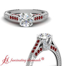 1.25 Ct Round Untreated Diamond & Ruby Cathedral Engagement Rings With Ruby GIA