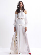ALESSANDRA RICH $2465 pleated silk off shoulder bow gown wedding dress 44 NEW