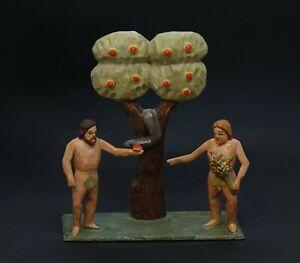 Adam und Eva mit Schlange und Apfelbaum - Holz geschnitzt
