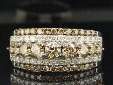 1.58Ct Champagne Diamond Half Eternity Wedding Band 14K White Gold FINISH