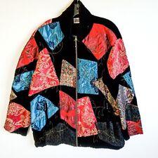 Chico's Quilted Patchwork Velvet Drawstring Waist Zippered Jacket Sz XL