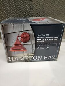 Hampton Bay Wetherby Red Outdoor Wall Lantern  Mount Sconce red finish