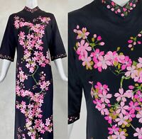 Vtg ALFRED SHAHEEN Black Maxi Dress Hand Printed Pink Cherry Blossom Floral S