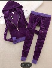 New Purple Women's-Juicy-Couture-Size M-Velour-Sweatsuit-Tracksuit-USA Seller