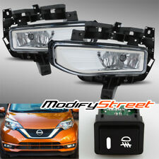 FOR 17-18 NISSAN VERSA NOTE 4 DOOR SEDAN CLEAR FOG LIGHTS BUMPER DRIVING LAMPS