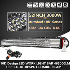 10D Quad-Row 3000W CREE 52Inch Curved LED Light Bar Flood Spot Car Driving VS 50