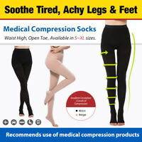 20-30mmHg Medical Compression Pantyhose Support Varicose Veins Open Toe Stocking
