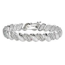 Genuine Natural Diamond Accent San Marco Tennis Bracelet in Silver Tone