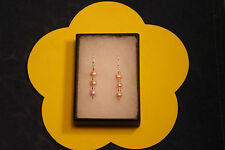 Beautiful 925 Silver Earrings With Pink Freshwater Pearls Gems 2.9 Gr.3 Cm.Long