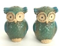 Owl Salt Pepper Shaker Set Ceramic Handcrafted 3x3 inch Collectible Vintage