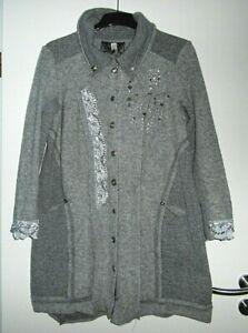 Tredy Mantel gekochte Wolle grau 42 Lagenlook