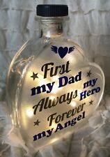 "LED 6"" Glass Light Up Heart Bottle Lamp Memorial Dad Father Grandad Etc Angel"