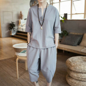 Men Shirt and Capri Pants Set Outfit 3/4 Sleeve Frog Button Tops V-neck Solid