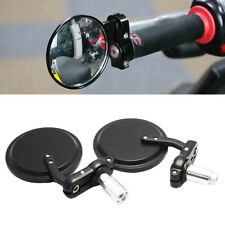 "1 Pair 7/8"" Motorcycle HandleBar 3"" Round End Mirror Cafe Racer Bobber Clubman"