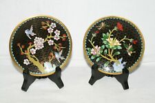 Pair small cloisonne style plates with stands, black & gold with flowers & birds