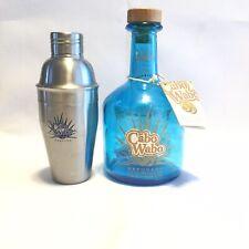 Cabo Wabo Tequila Bottle With Shaker 750 mL Original Tag Sammy Hagar Blue