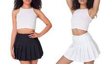 Womens Black White American Apparel Pleated Tennis School Mini Skirt