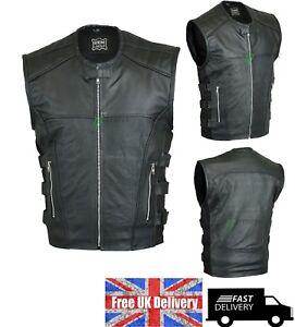 Mens Motorbike Biker Waistcoat Style Black 100% Real Leather Vest